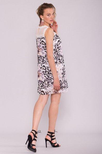 Платье Бриз 6933 Цвет: Леопард цветы молоко/беж
