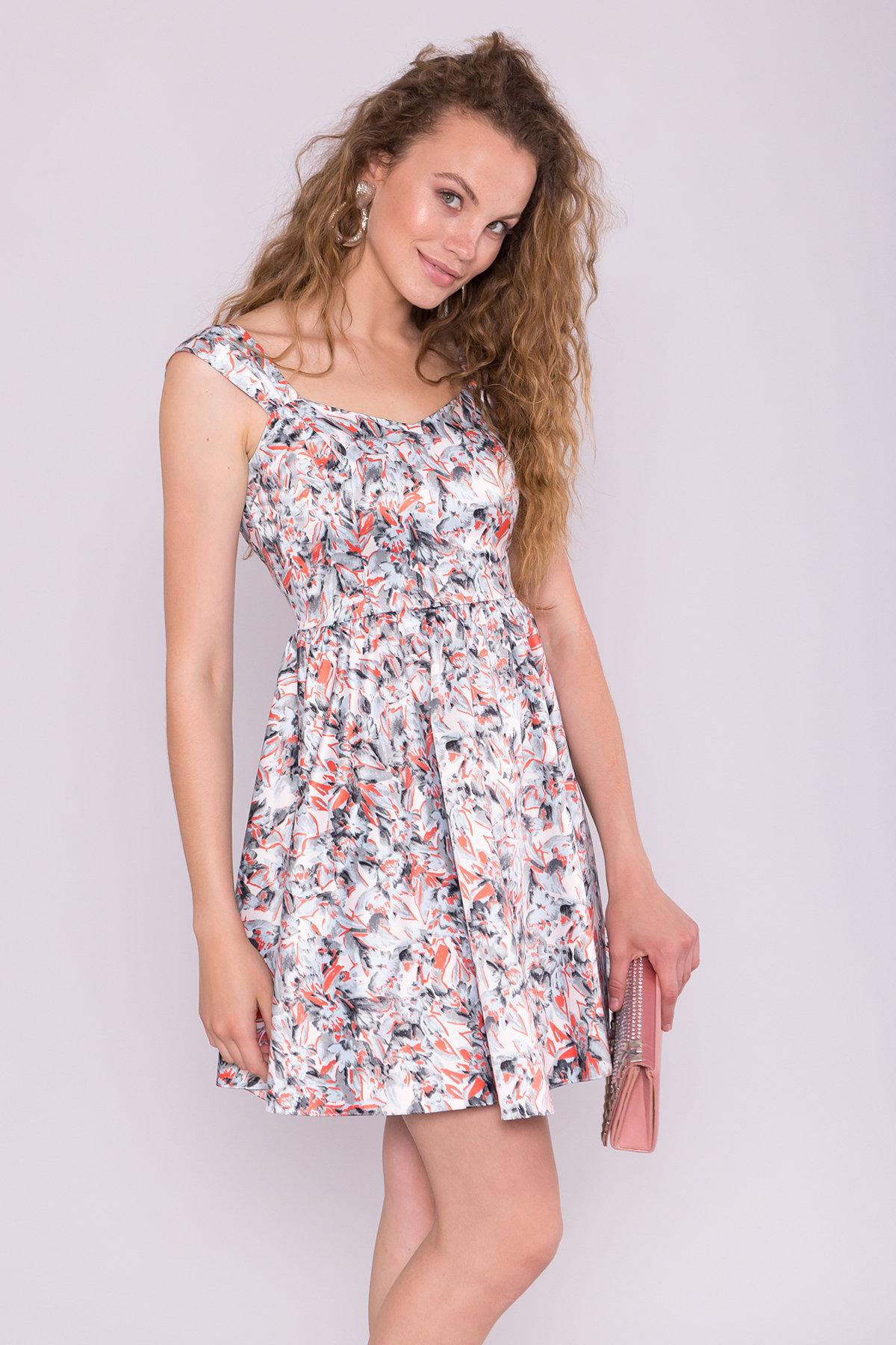 Платье Луиджи 7144 АРТ. 42845 Цвет: голубой/кораллл - фото 3, интернет магазин tm-modus.ru