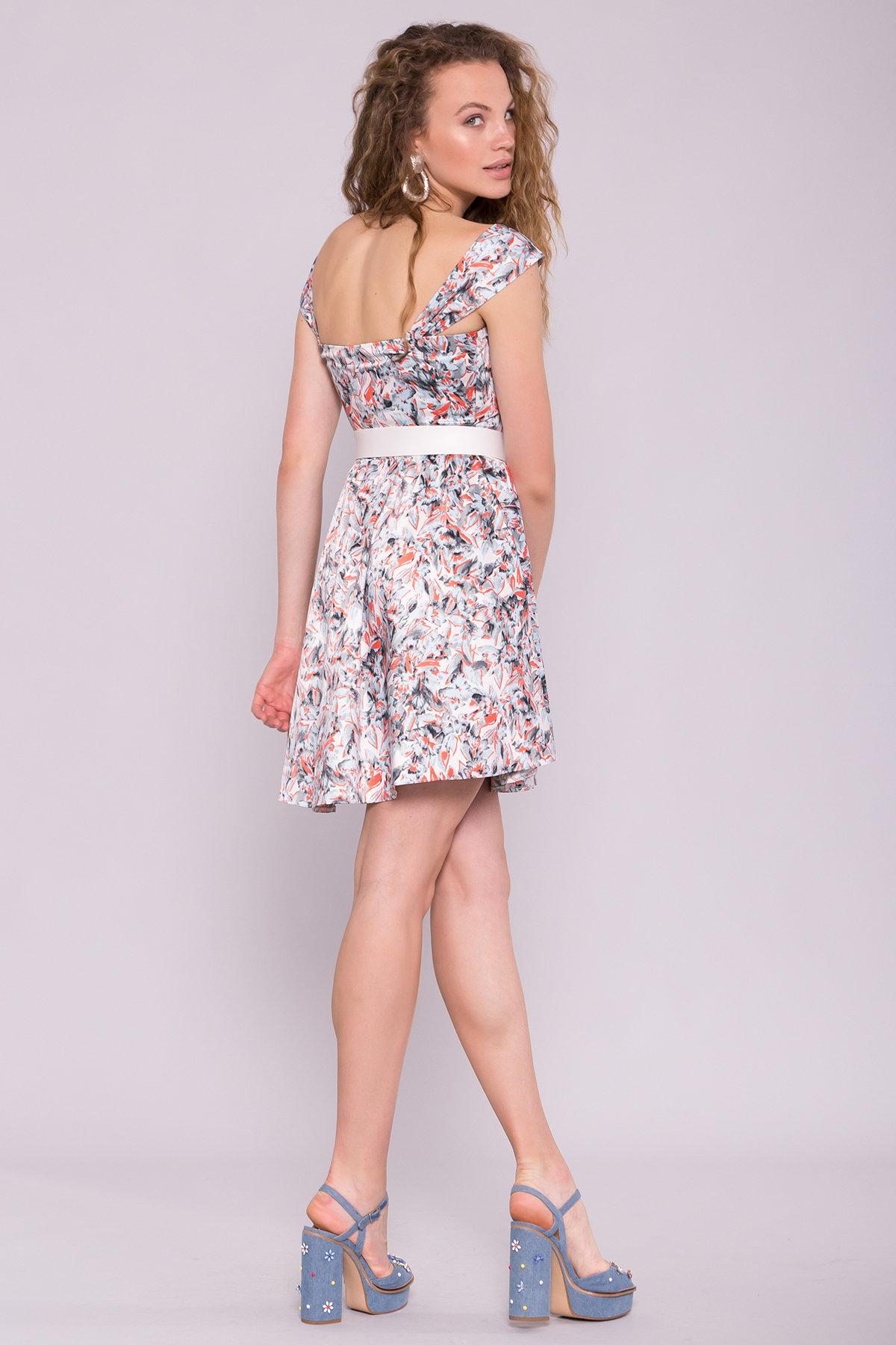 Платье Луиджи 7144 АРТ. 42845 Цвет: голубой/кораллл - фото 4, интернет магазин tm-modus.ru