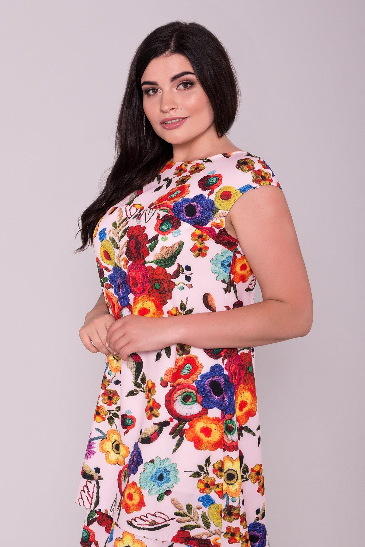 Платье Делафер DONNA 6885 АРТ. 43035 Цвет: Цветы комби розовый св - фото 3, интернет магазин tm-modus.ru