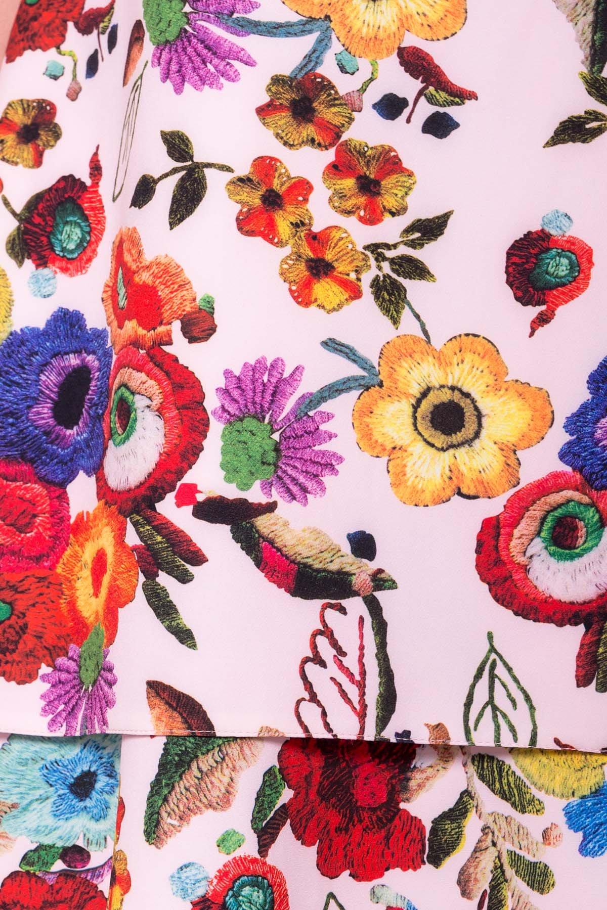 Платье Делафер DONNA 6885 Цвет: Цветы комби розовый св