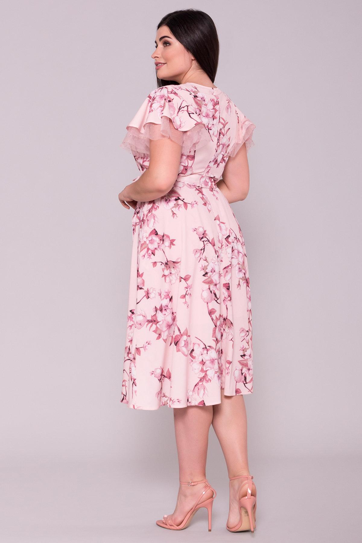 Платье Мидея DONNA 7240 АРТ. 42808 Цвет: Цветы на ветке пудра тем - фото 2, интернет магазин tm-modus.ru