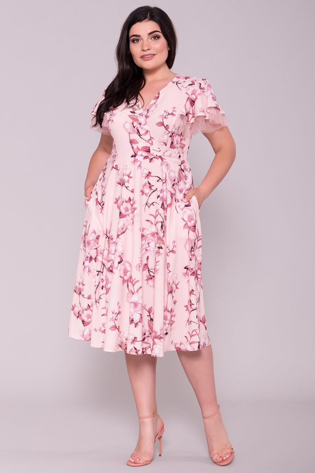 Платье Мидея DONNA 7240 АРТ. 42808 Цвет: Цветы на ветке пудра тем - фото 3, интернет магазин tm-modus.ru