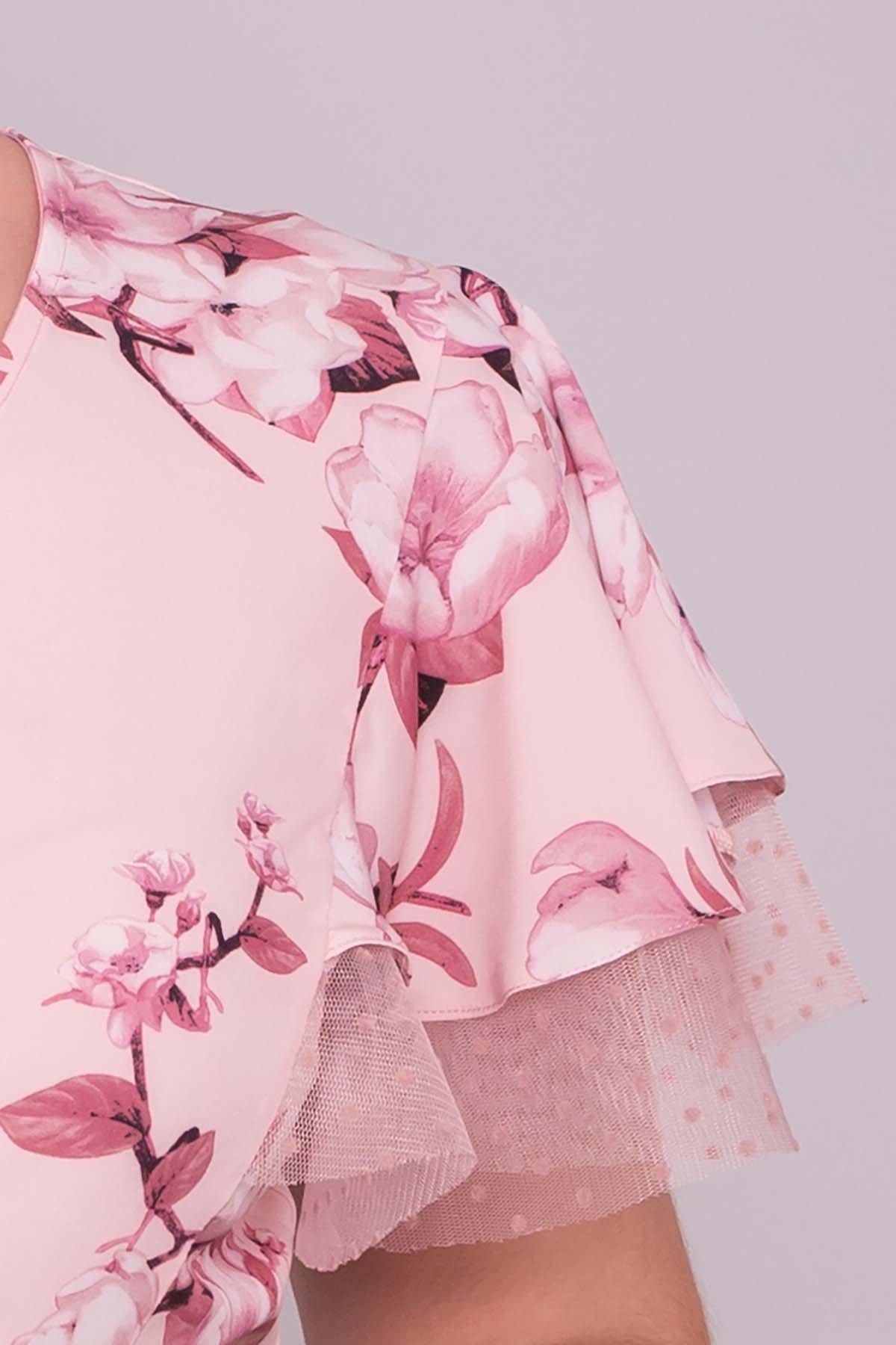 Платье Мидея DONNA 7240 АРТ. 42808 Цвет: Цветы на ветке пудра тем - фото 5, интернет магазин tm-modus.ru