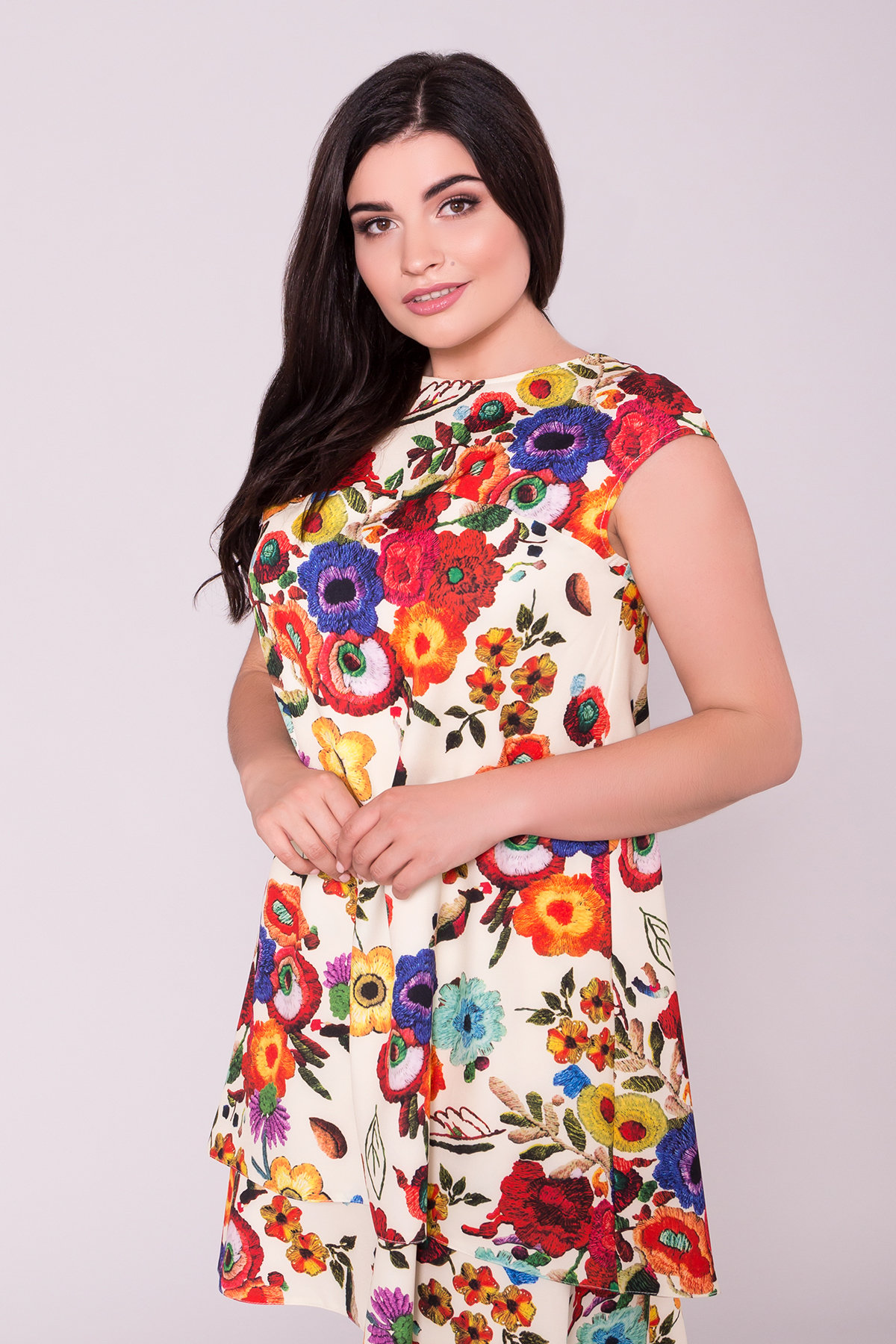 Платье Делафер DONNA 6885 АРТ. 43036 Цвет: Цветы комби молоко - фото 3, интернет магазин tm-modus.ru