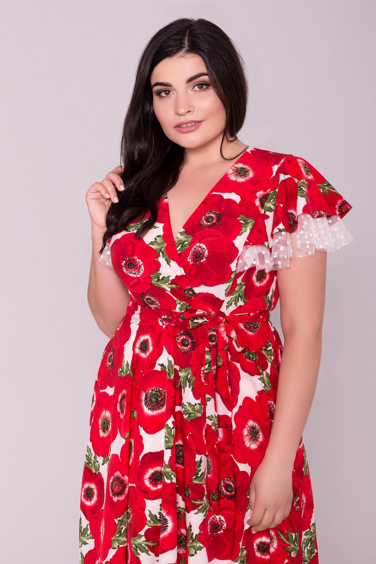 Платье Мидея DONNA 7240 Цвет: Маки красный/молоко