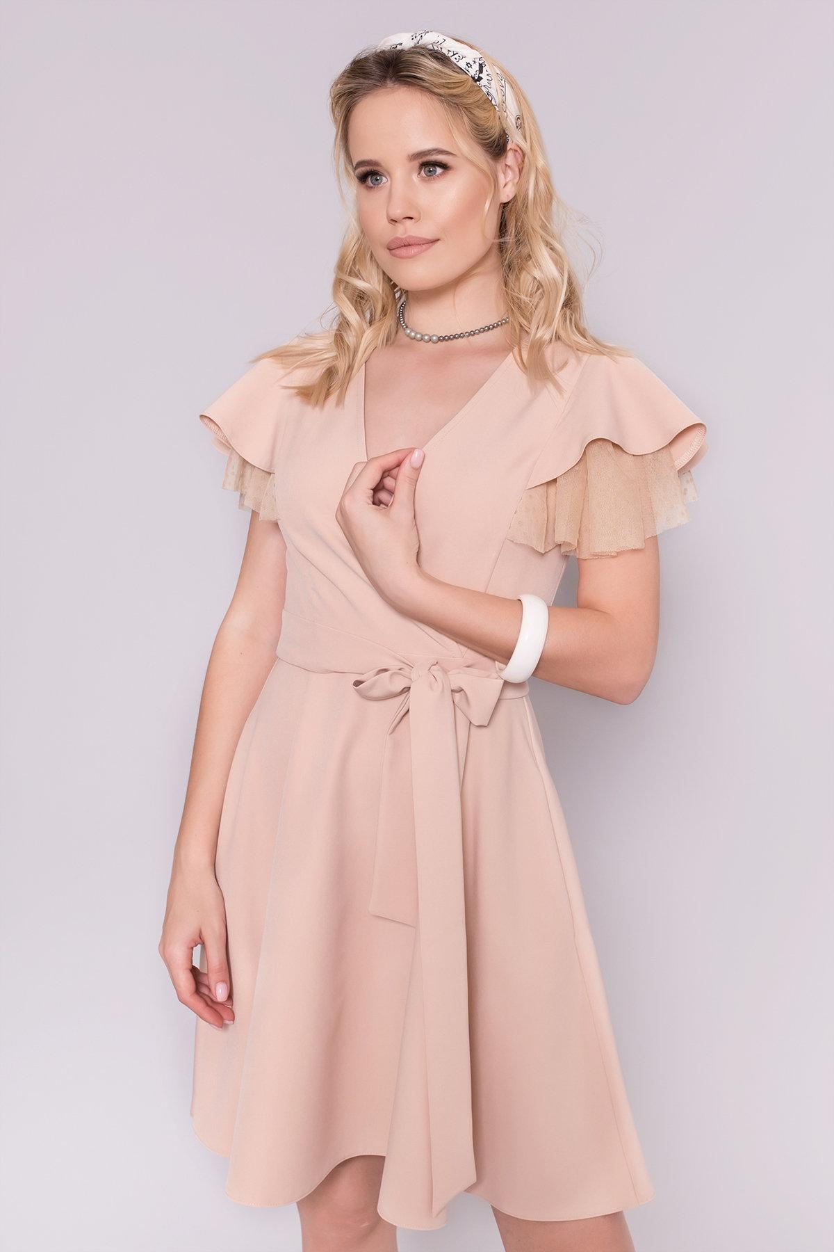 Платье с воланами на плечах Милея 6788 Цвет: Бежевый