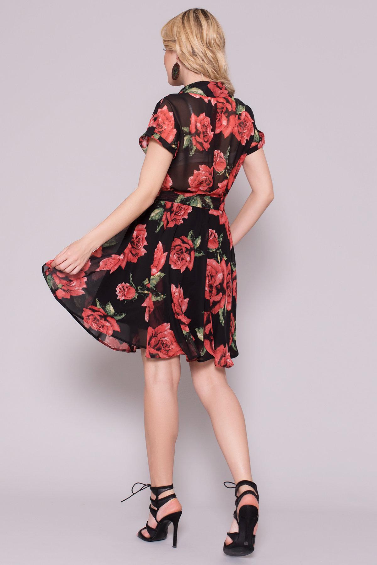 Платье Санжар 6935 АРТ. 42934 Цвет: Розы черный/красный - фото 2, интернет магазин tm-modus.ru