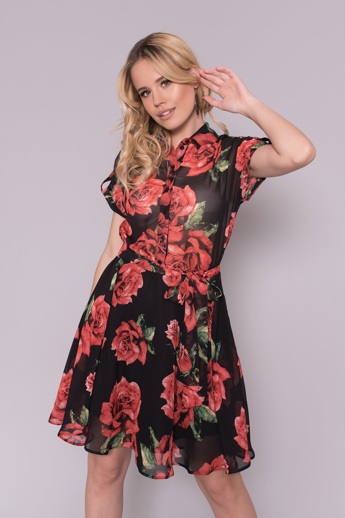 Платье Санжар 6935 АРТ. 42934 Цвет: Розы черный/красный - фото 3, интернет магазин tm-modus.ru