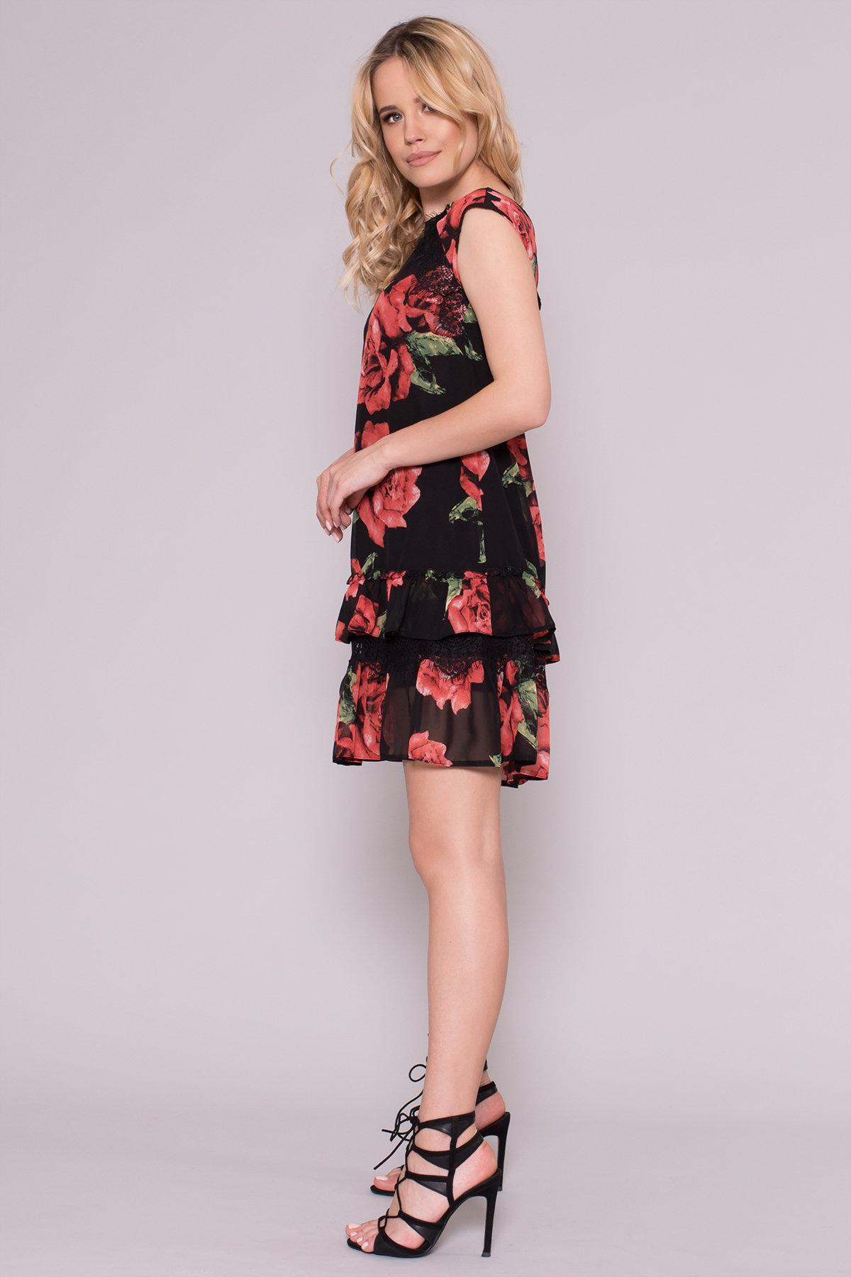 Платье Нектар 6916 АРТ. 42958 Цвет: Розы Красные/Черные - фото 2, интернет магазин tm-modus.ru