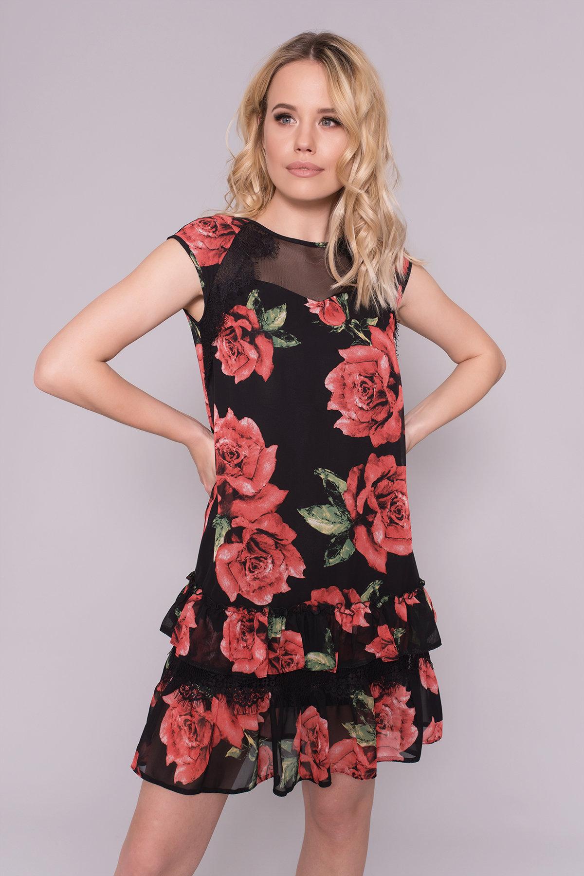 Платье Нектар 6916 АРТ. 42958 Цвет: Розы Красные/Черные - фото 3, интернет магазин tm-modus.ru