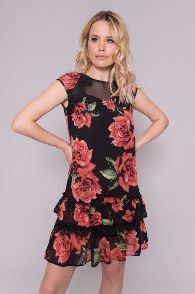 Платье Нектар 6916 Цвет: Розы Красные/Черные