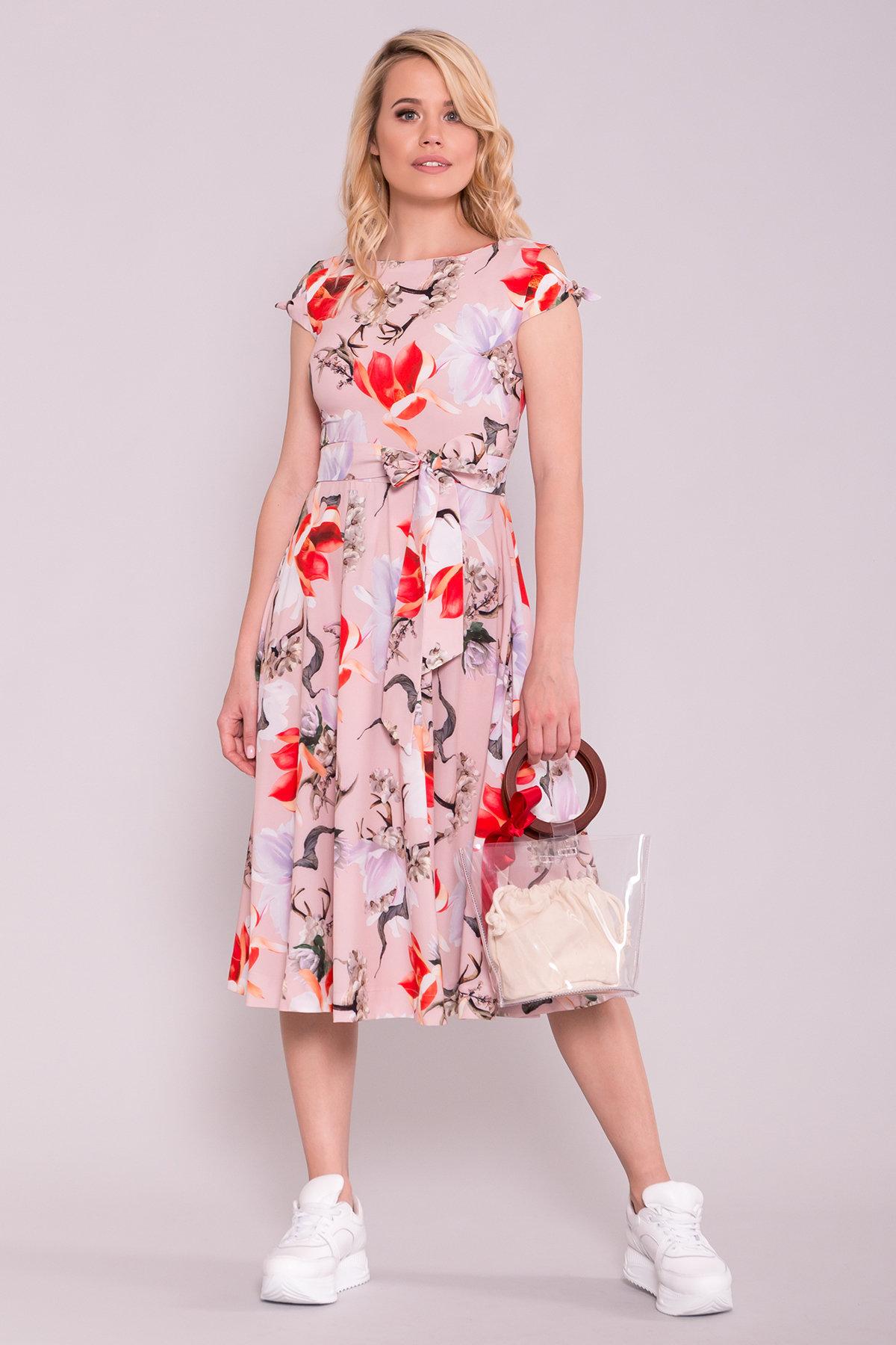 Платье миди Жадор 7055 Цвет: цветы комби пудра/ коралл