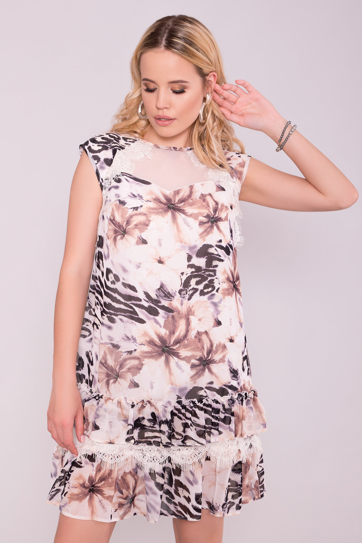 Платье Нектар 6916 АРТ. 42957 Цвет: Леопард цветы молоко/беж - фото 3, интернет магазин tm-modus.ru