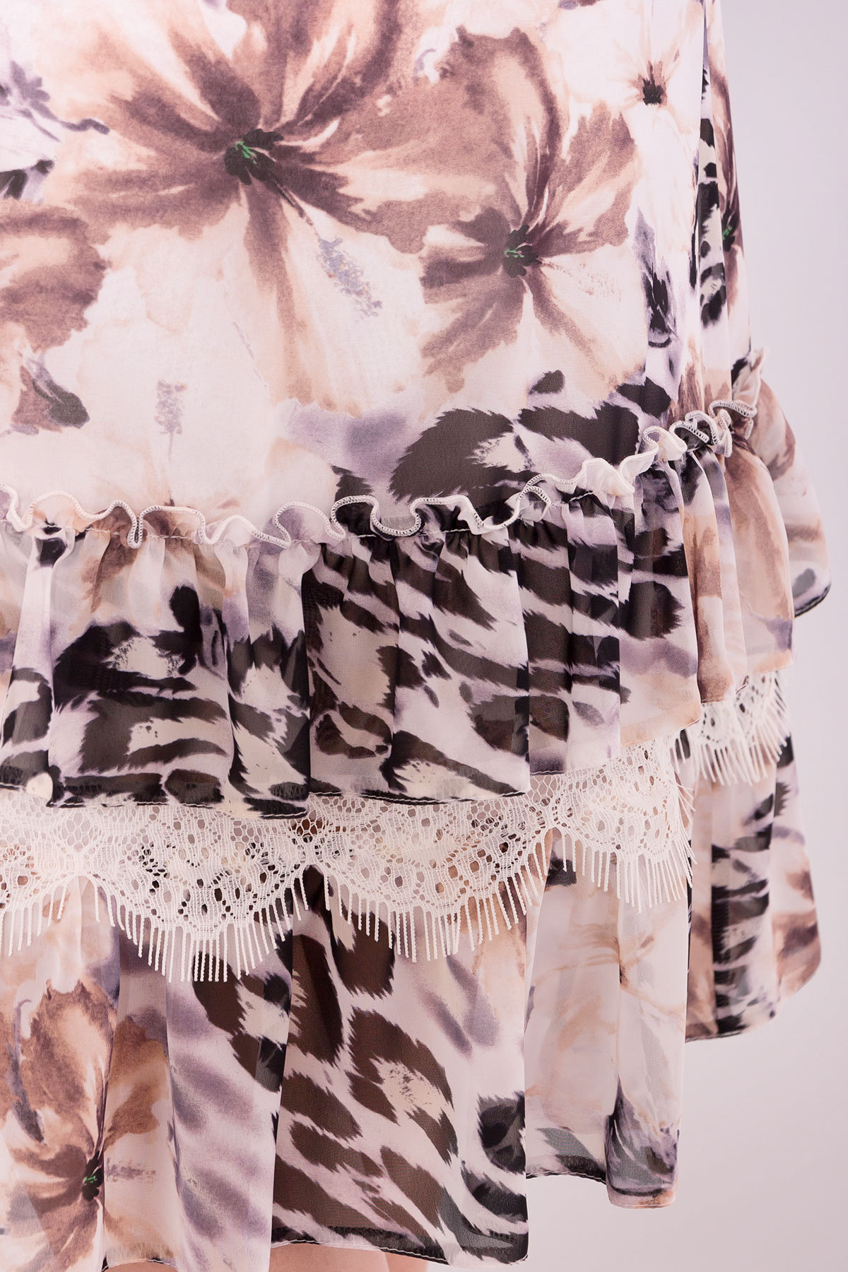 Платье Нектар 6916 АРТ. 42957 Цвет: Леопард цветы молоко/беж - фото 4, интернет магазин tm-modus.ru