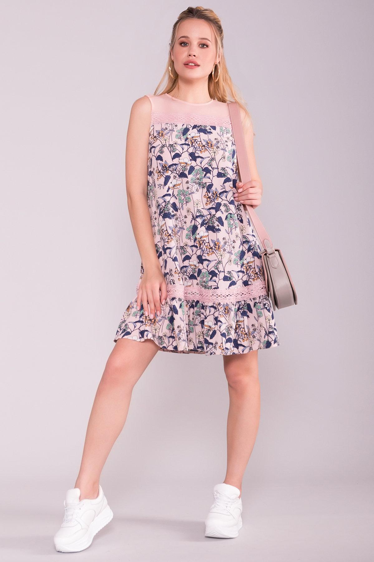 Платье Инга 7063 Цвет: Абстрак цветы/пудра