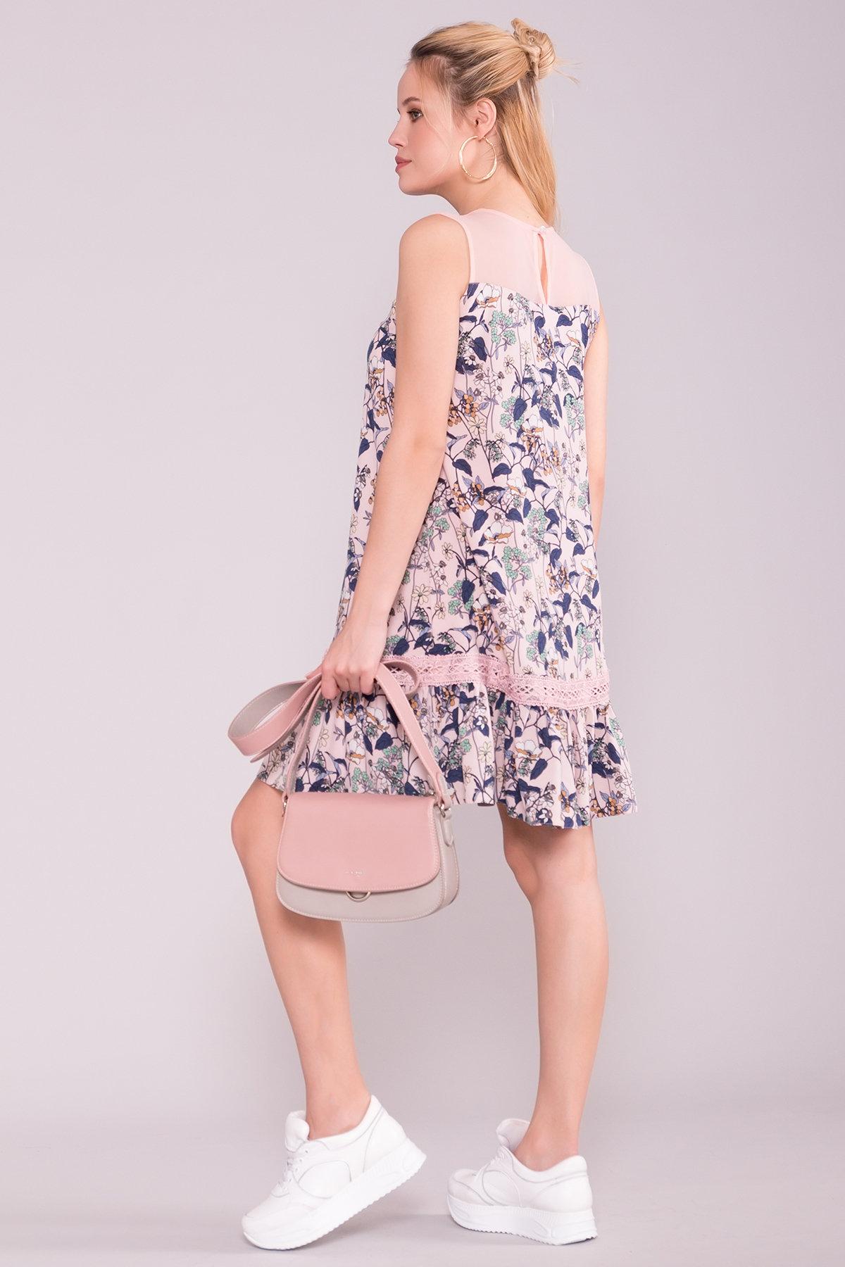Платье Инга 7063 АРТ. 43066 Цвет: Абстрак цветы/пудра - фото 2, интернет магазин tm-modus.ru