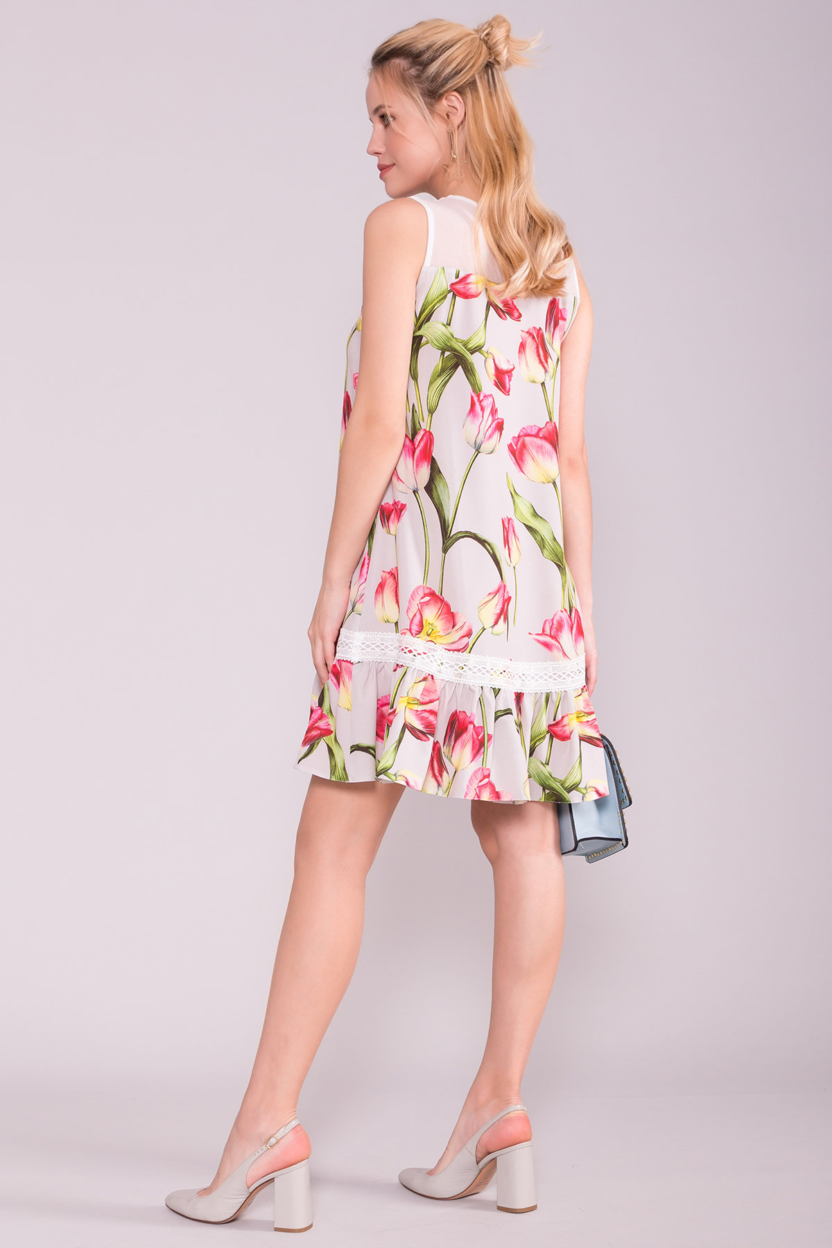 Платье Инга 7063 АРТ. 43062 Цвет: Тюльпан серый/розовый - фото 2, интернет магазин tm-modus.ru