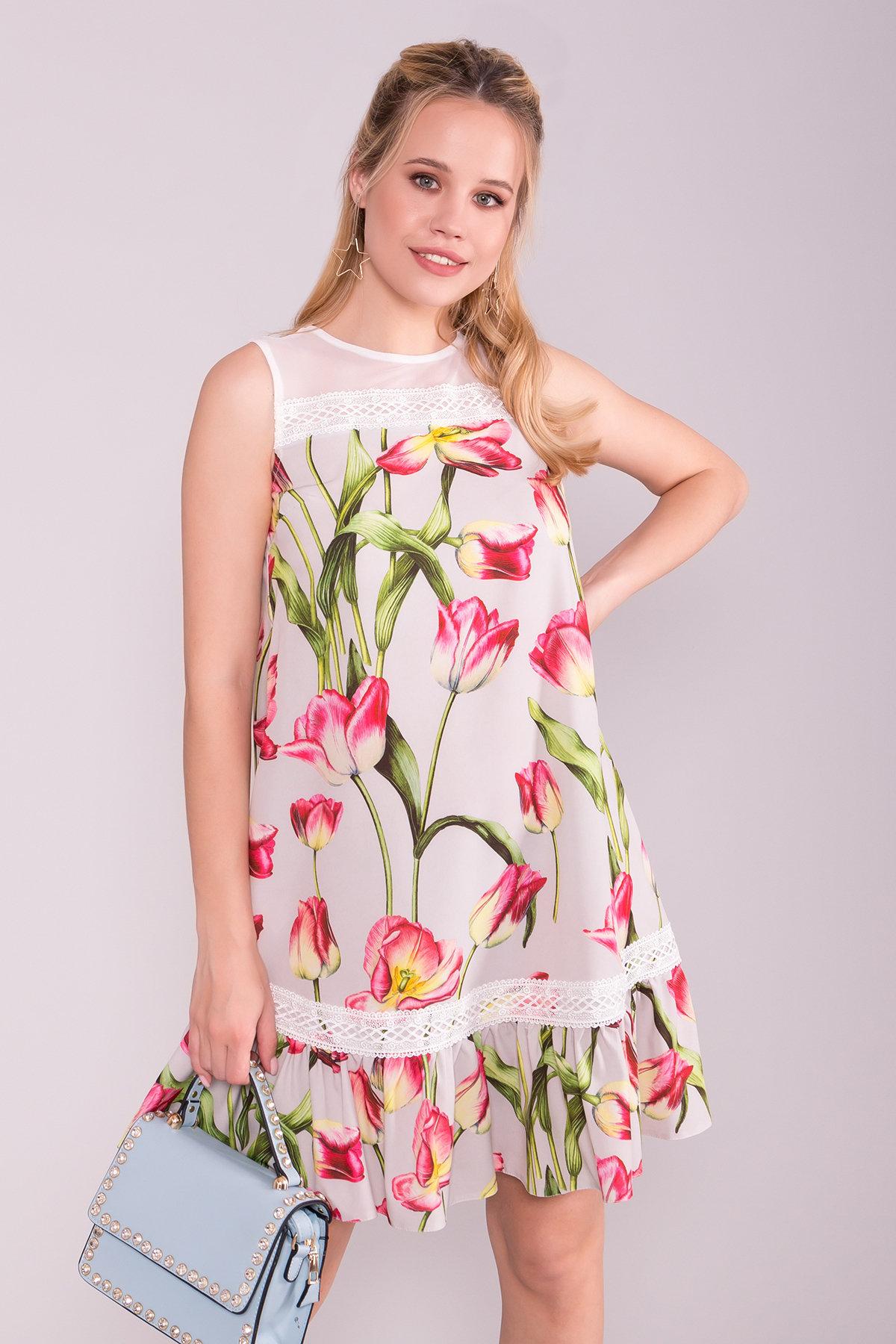Платье Инга 7063 АРТ. 43062 Цвет: Тюльпан серый/розовый - фото 3, интернет магазин tm-modus.ru