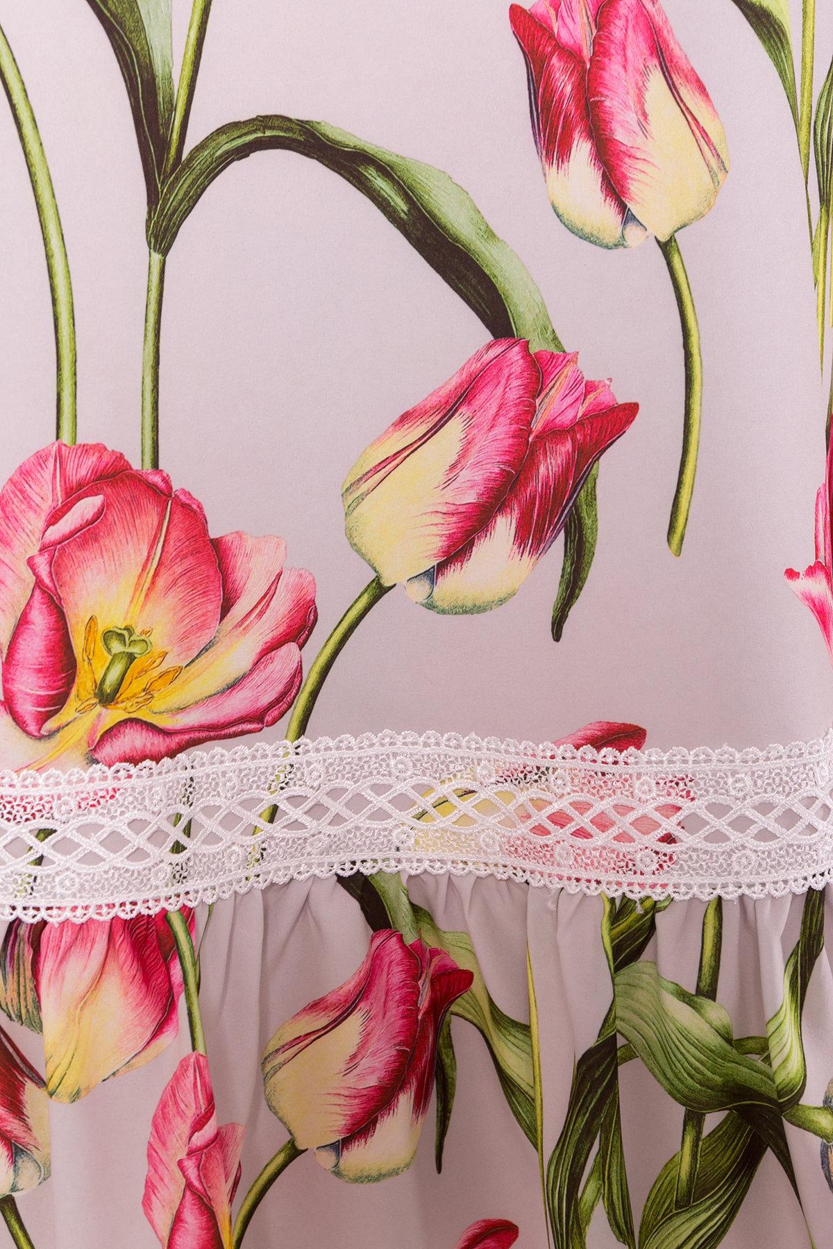 Платье Инга 7063 Цвет: Тюльпан серый/розовый