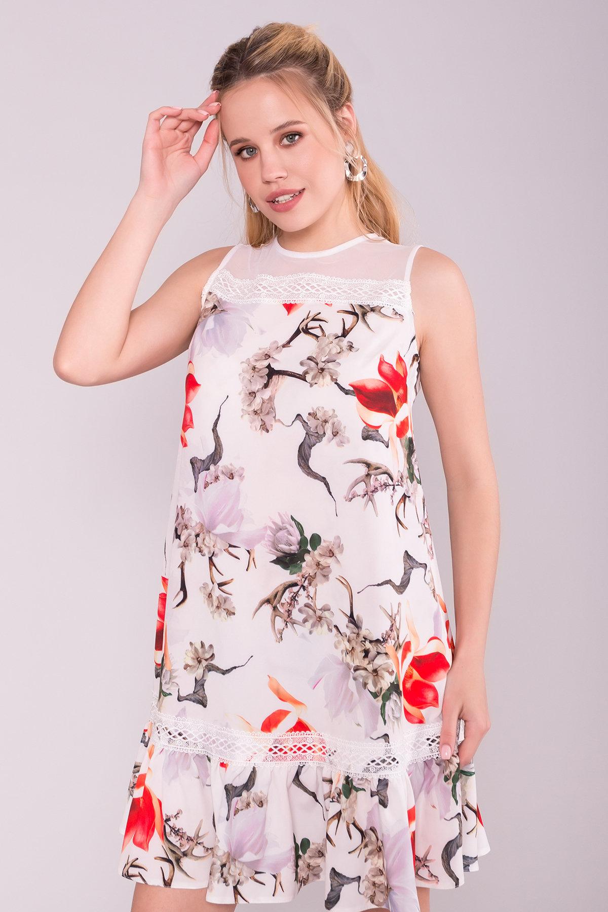 Платье Инга 7063 Цвет: цветы комби мол/ кор