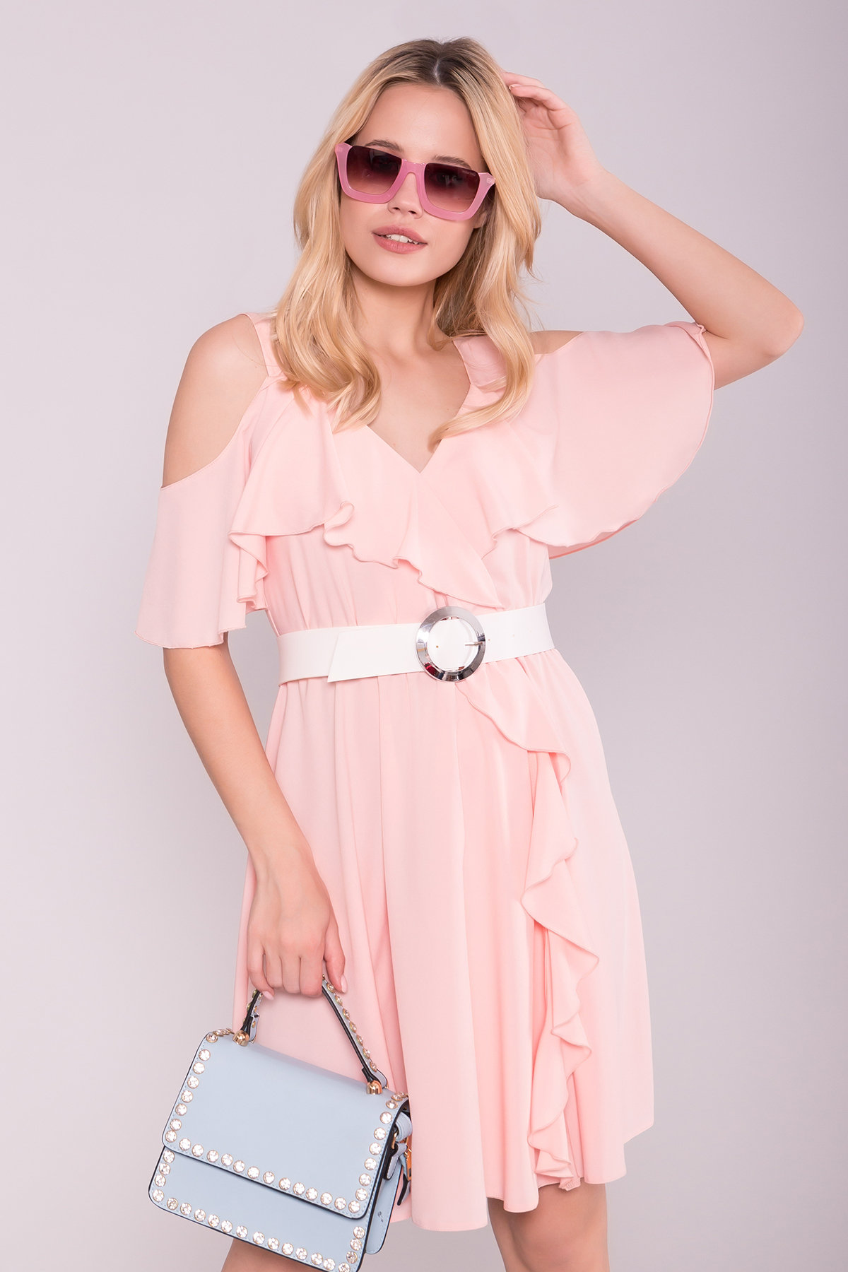 Платье Нуара 7358 АРТ. 43102 Цвет: Пудра 7 - фото 3, интернет магазин tm-modus.ru