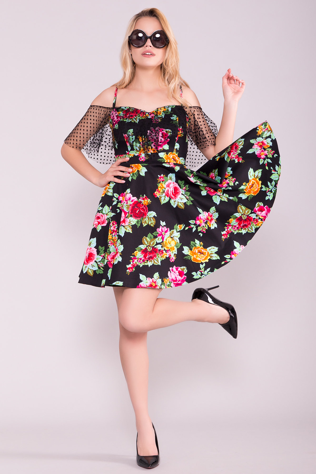 Платье Тори 7189 Цвет: Роза алая/черный