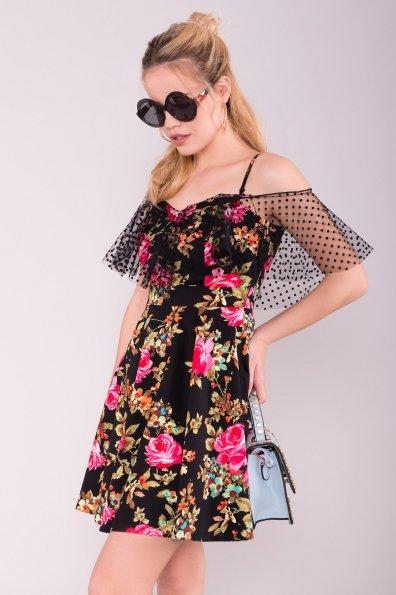 Платье Тори 7189 Цвет: Роза розовая/черный