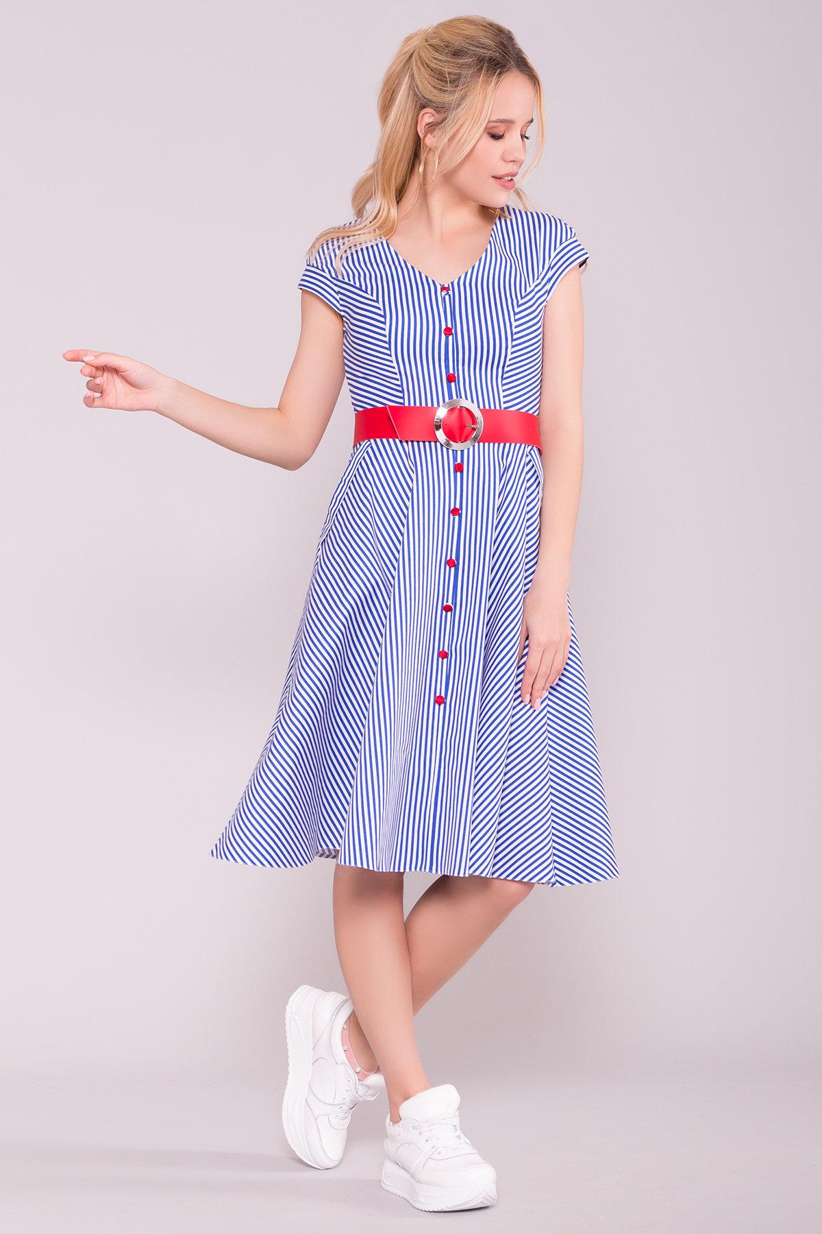 Платье Лама 7342 Цвет: Белый/синий полосатый