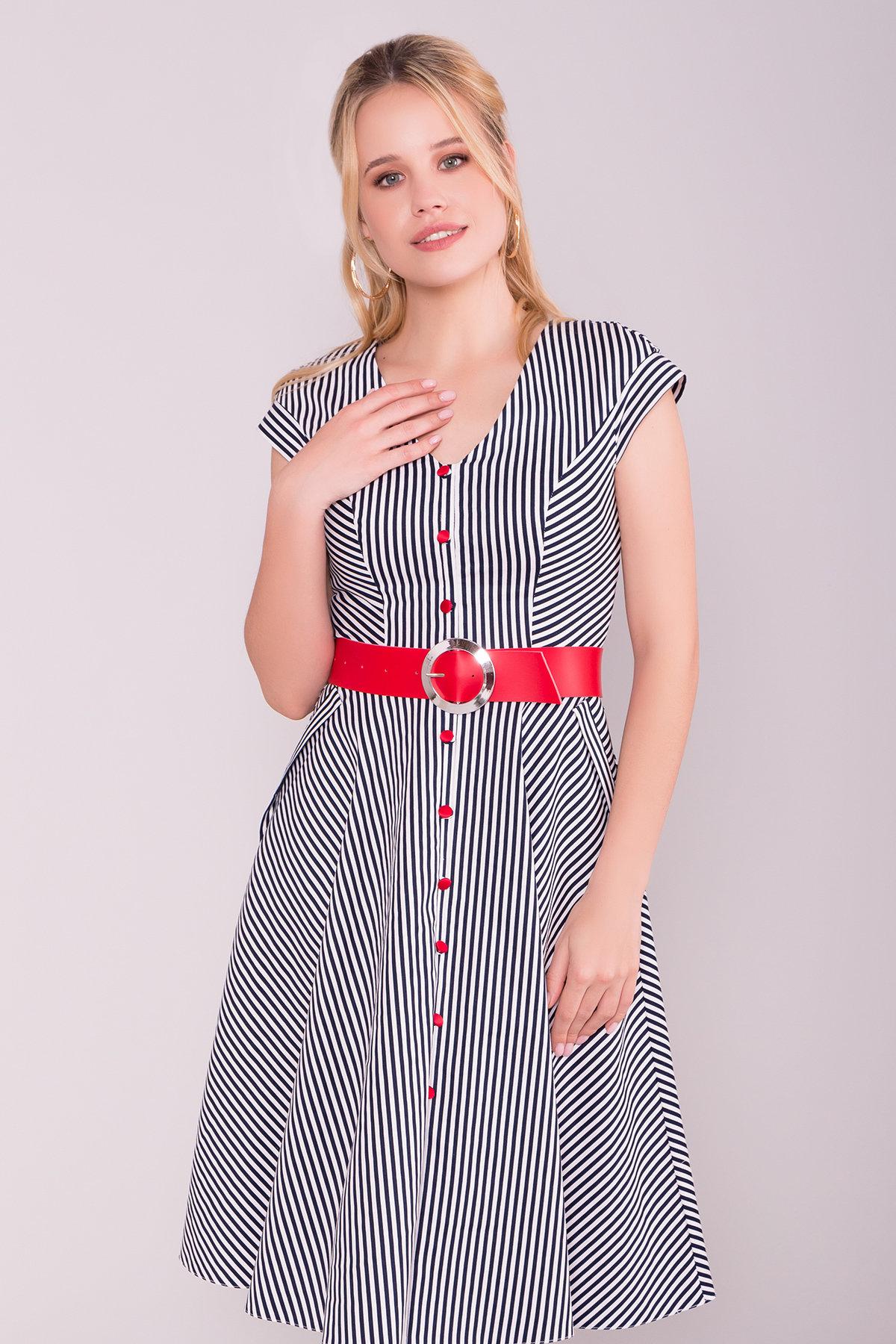 Платье Лама 7342 Цвет: Белый/черный полосатый
