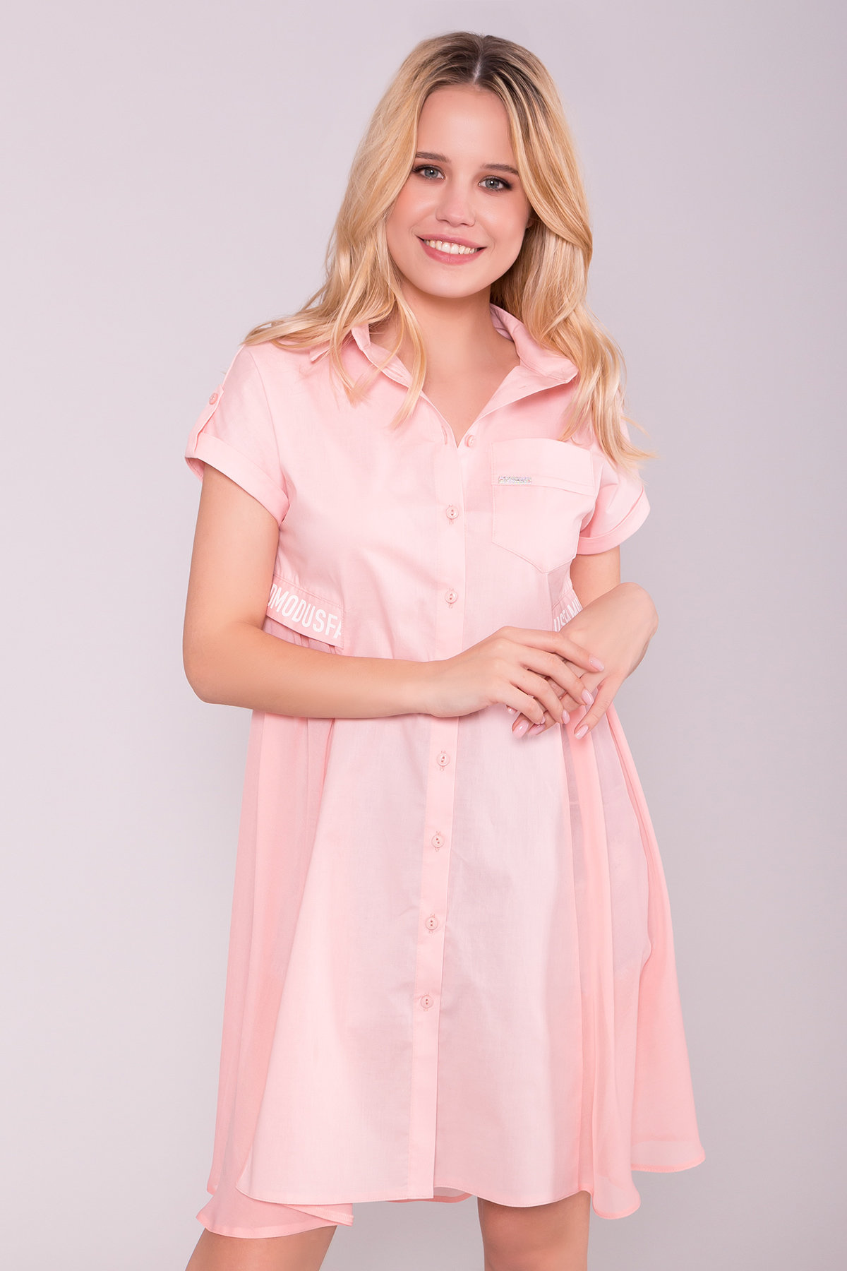 Платье-рубашка Саби  7268 АРТ. 42848 Цвет: Пудра - фото 4, интернет магазин tm-modus.ru