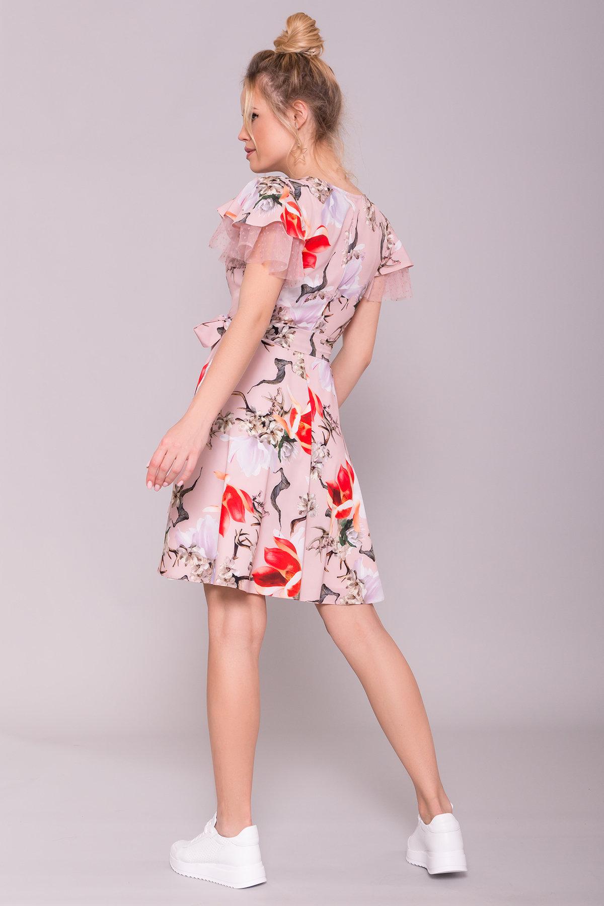 Платье Милея 7059 АРТ. 43140 Цвет: цветы комби пудра/ коралл - фото 2, интернет магазин tm-modus.ru