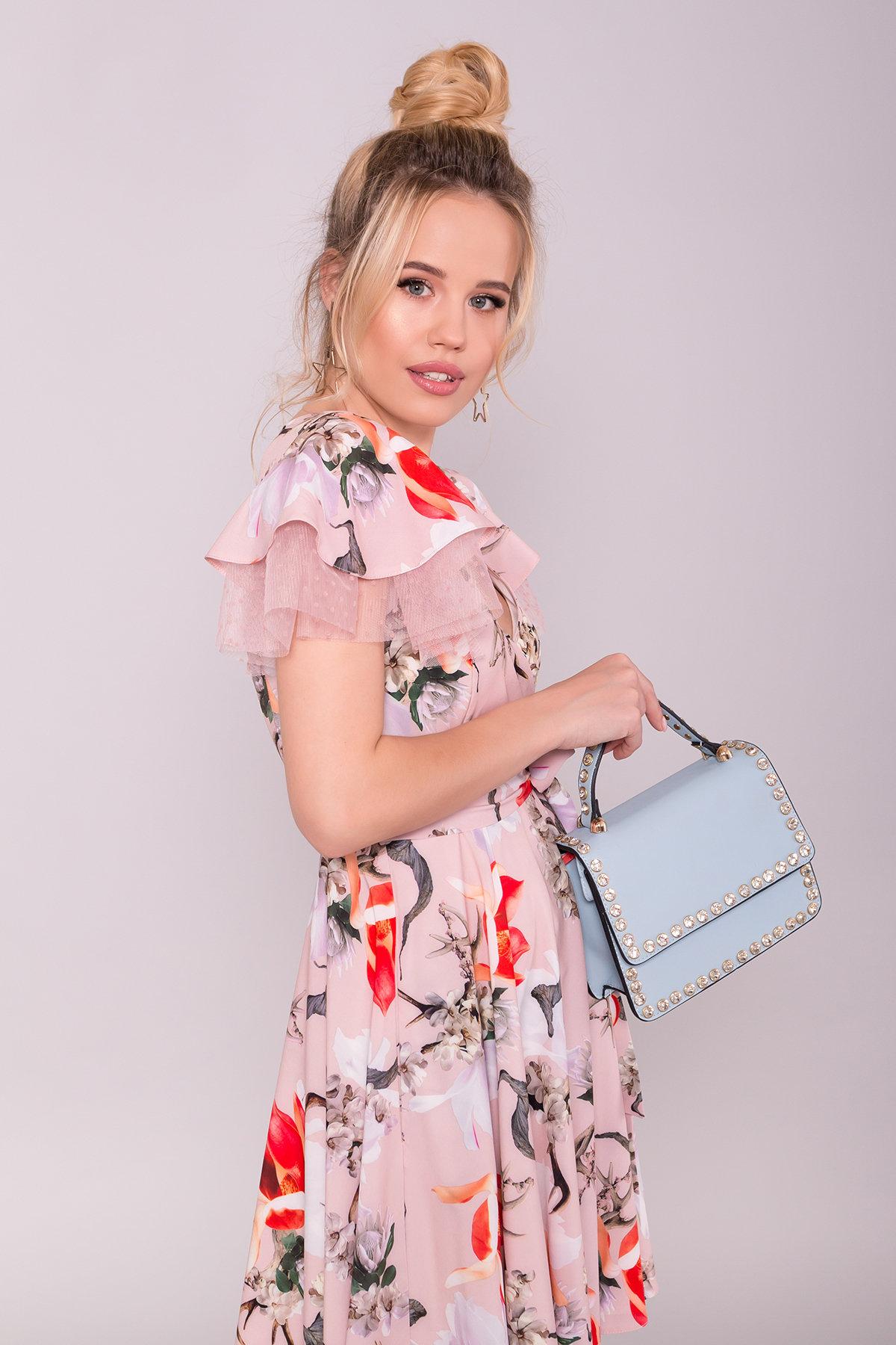 Платье Милея 7059 АРТ. 43140 Цвет: цветы комби пудра/ коралл - фото 3, интернет магазин tm-modus.ru
