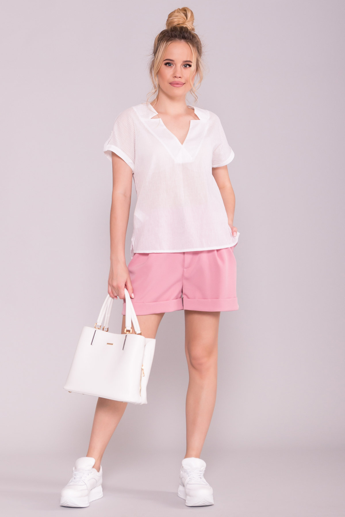 Легкий топ блузка Реноме 7398 Цвет: Полоска/молоко