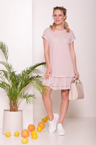 Легкое прямое Платье Шеги 7017 Цвет: Бежевый