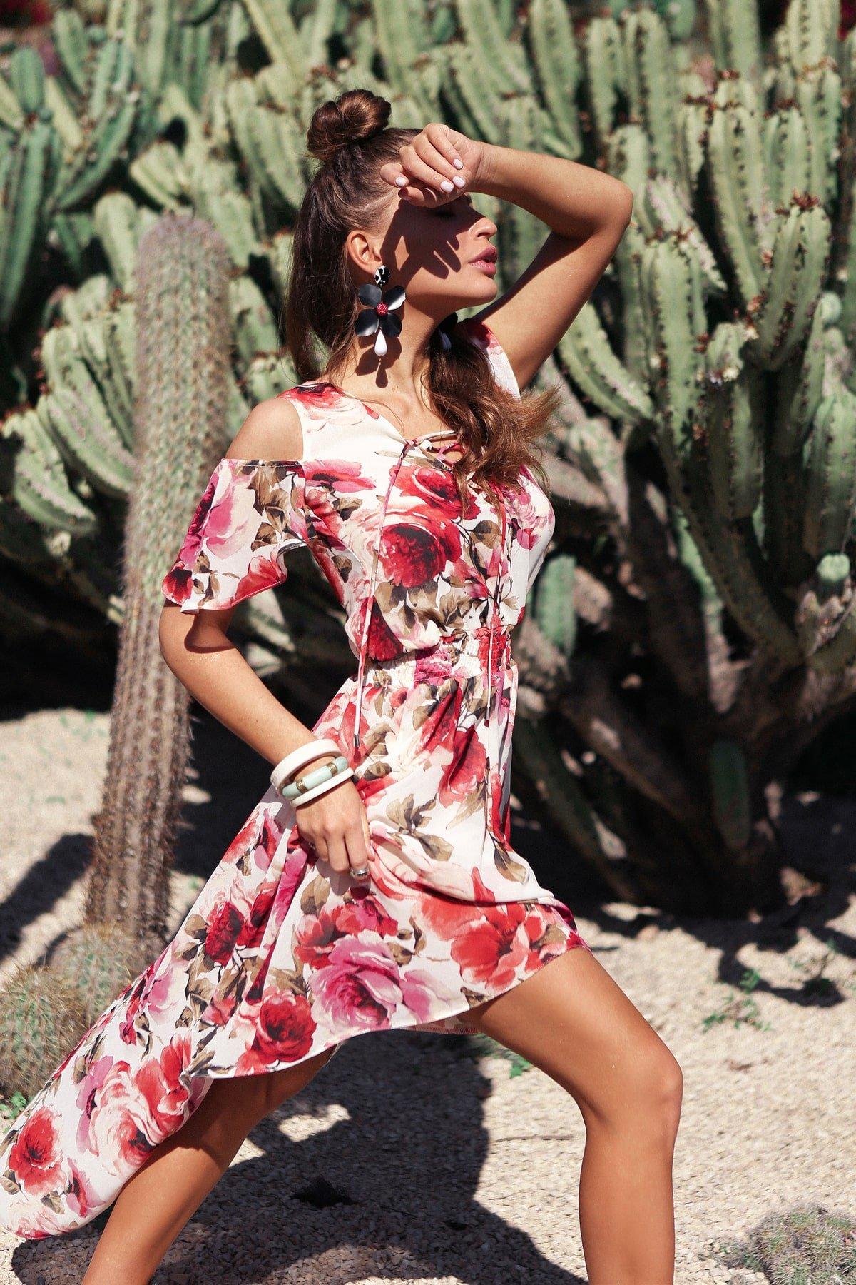 Платье Фрезия 5072 АРТ. 42003 Цвет: Розы молоко/коралл - фото 5, интернет магазин tm-modus.ru