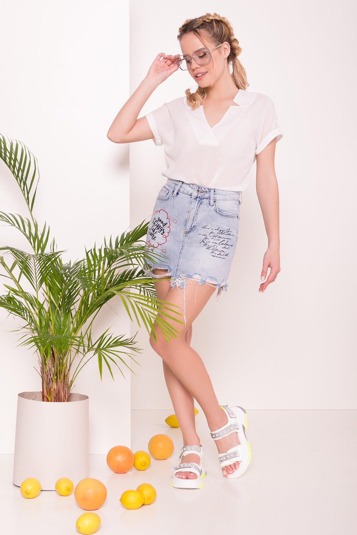 Молодежная юбка светлый джинс 7428 Цвет: Голубой