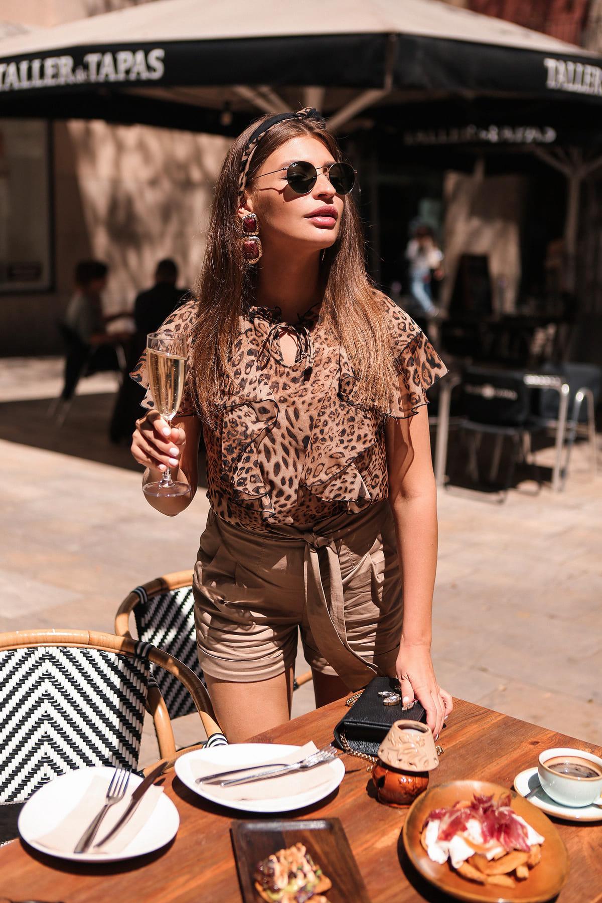Блуза с леопардовым принтом Дайан 7233 Цвет: Леопард 1