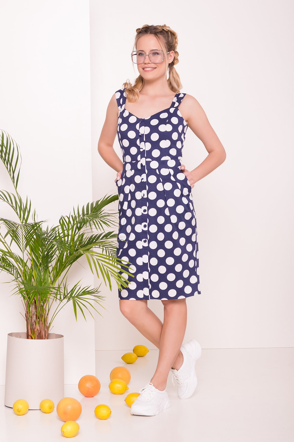 Платье Унгаро 7273 Цвет: Горох/белый крупТ.синий