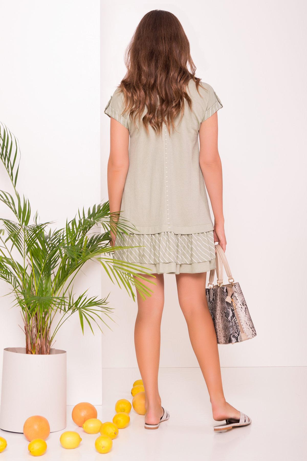 Легкое прямое Платье Шеги 7017 Цвет: Олива