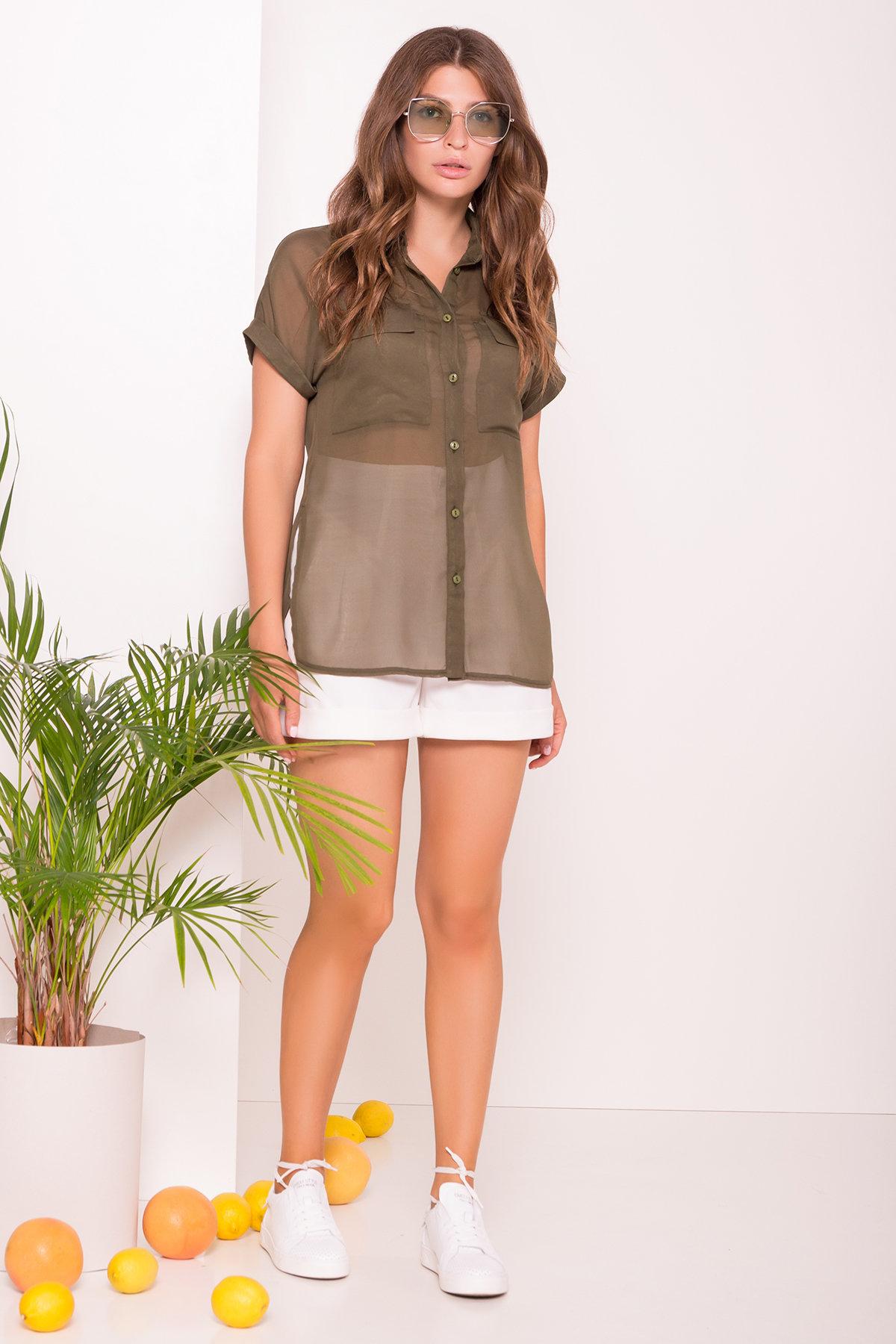 Шифоновая Рубашка Айра 7456 Цвет: Хаки