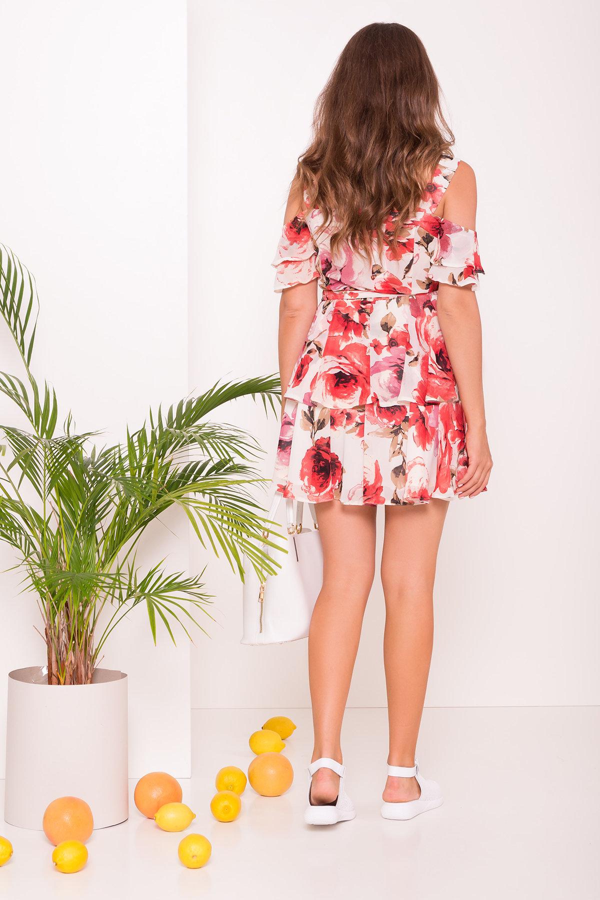 Платье Маори 6941 Цвет: Розы молоко/красный