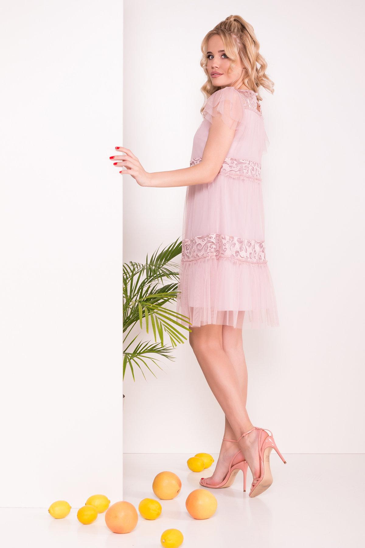 Платье Френсис  6485 АРТ. 41446 Цвет: Серо-розовый - фото 2, интернет магазин tm-modus.ru