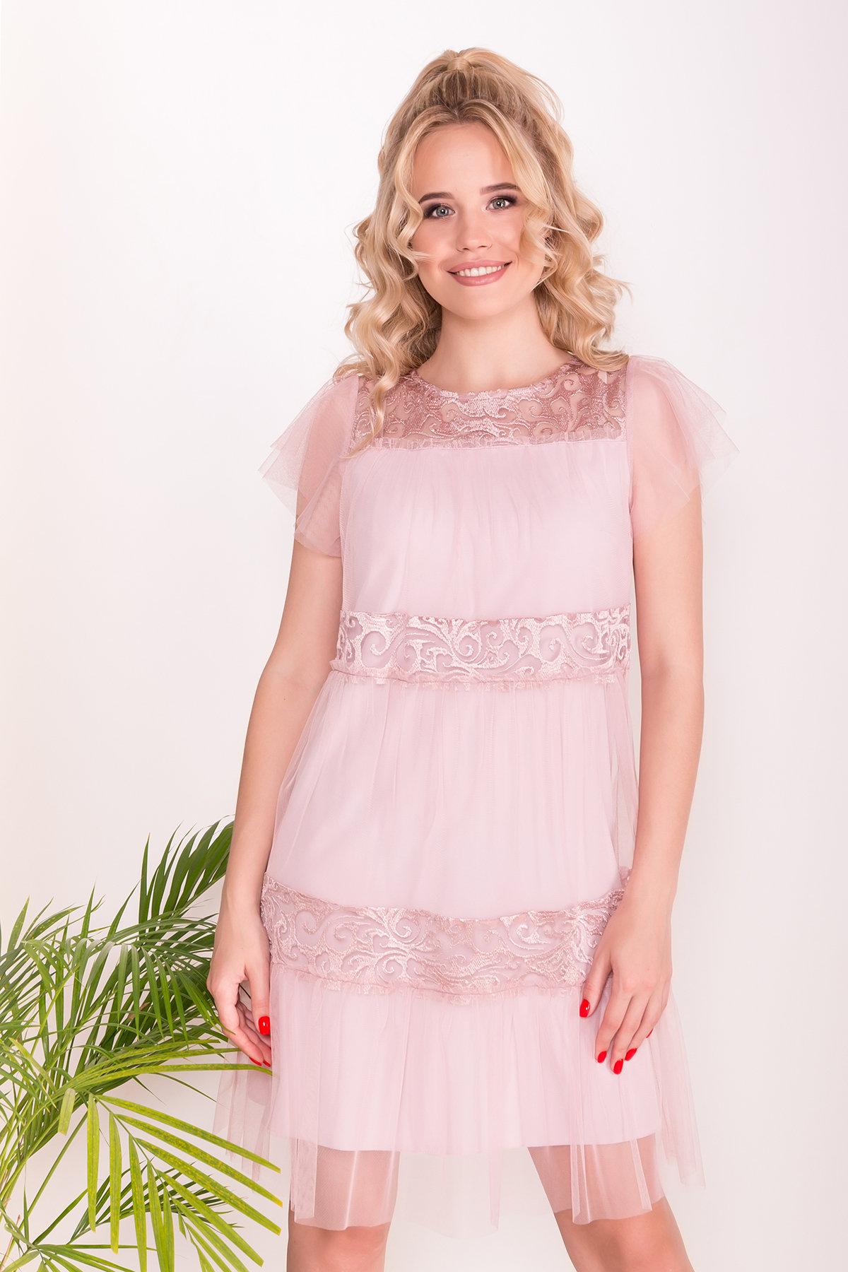 Платье Френсис  6485 АРТ. 41446 Цвет: Серо-розовый - фото 3, интернет магазин tm-modus.ru
