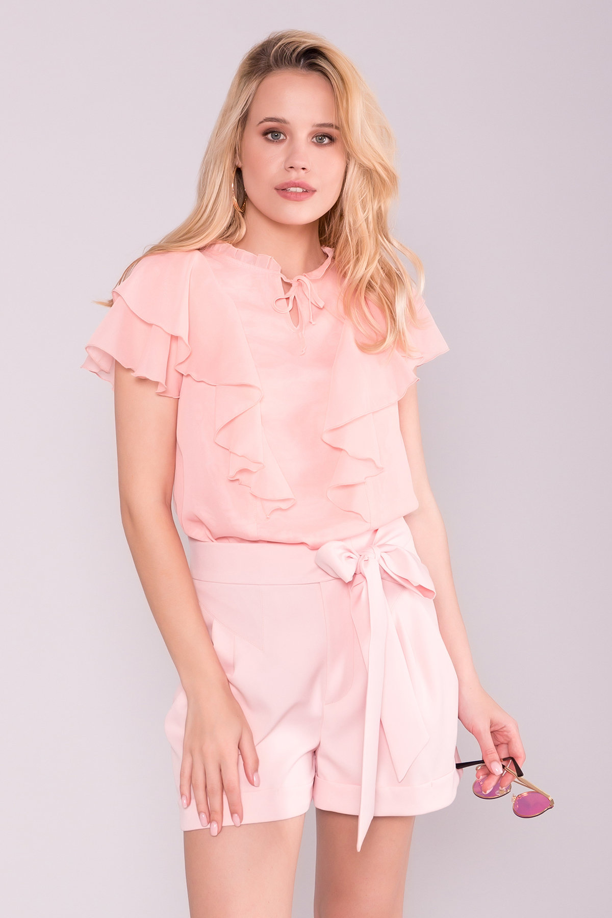 Блуза Дайан 7235 АРТ. 43157 Цвет: Пудра Светлая - фото 3, интернет магазин tm-modus.ru