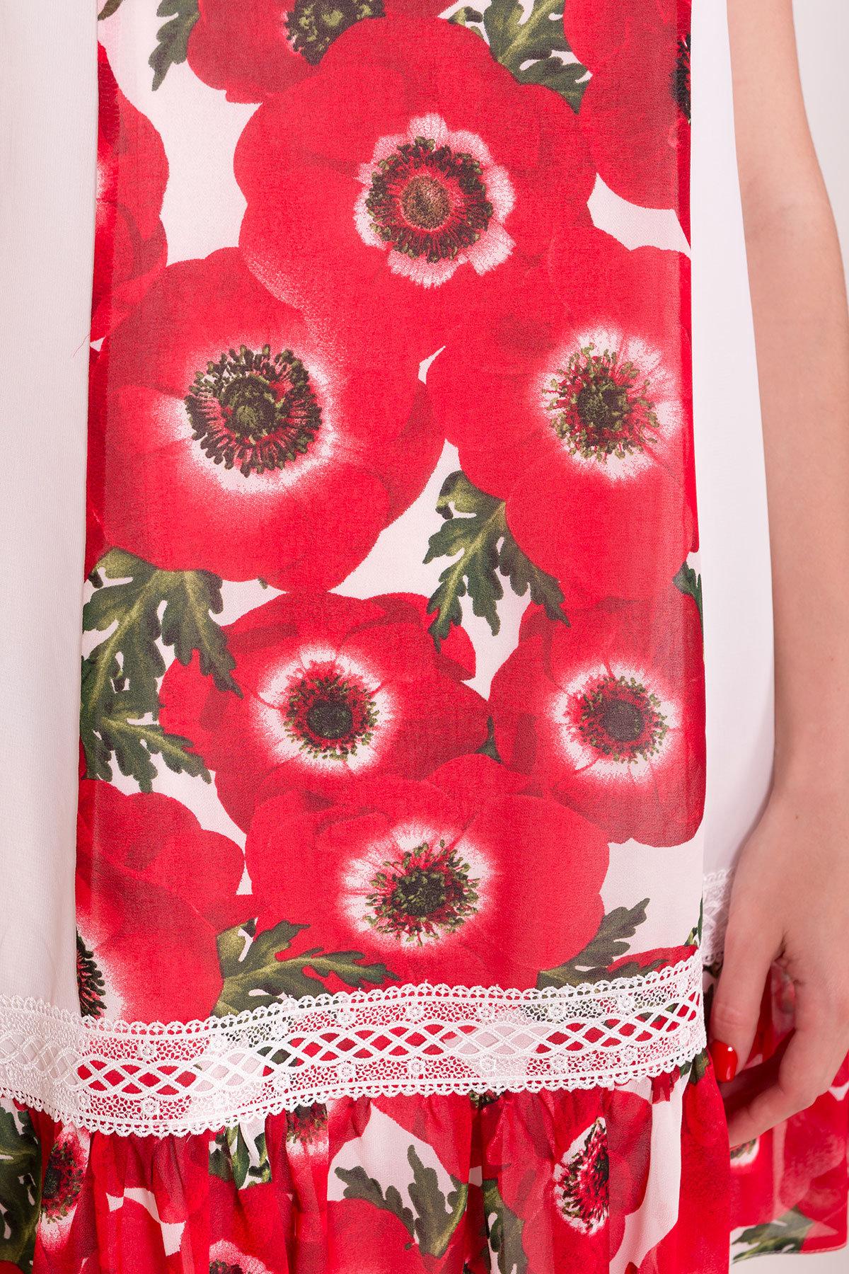 Платье  Инга 6914 Цвет: Маки молоко
