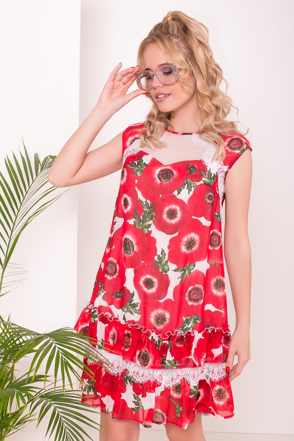 Платье Нектар 6916 АРТ. 43268 Цвет: Маки молоко - фото 3, интернет магазин tm-modus.ru