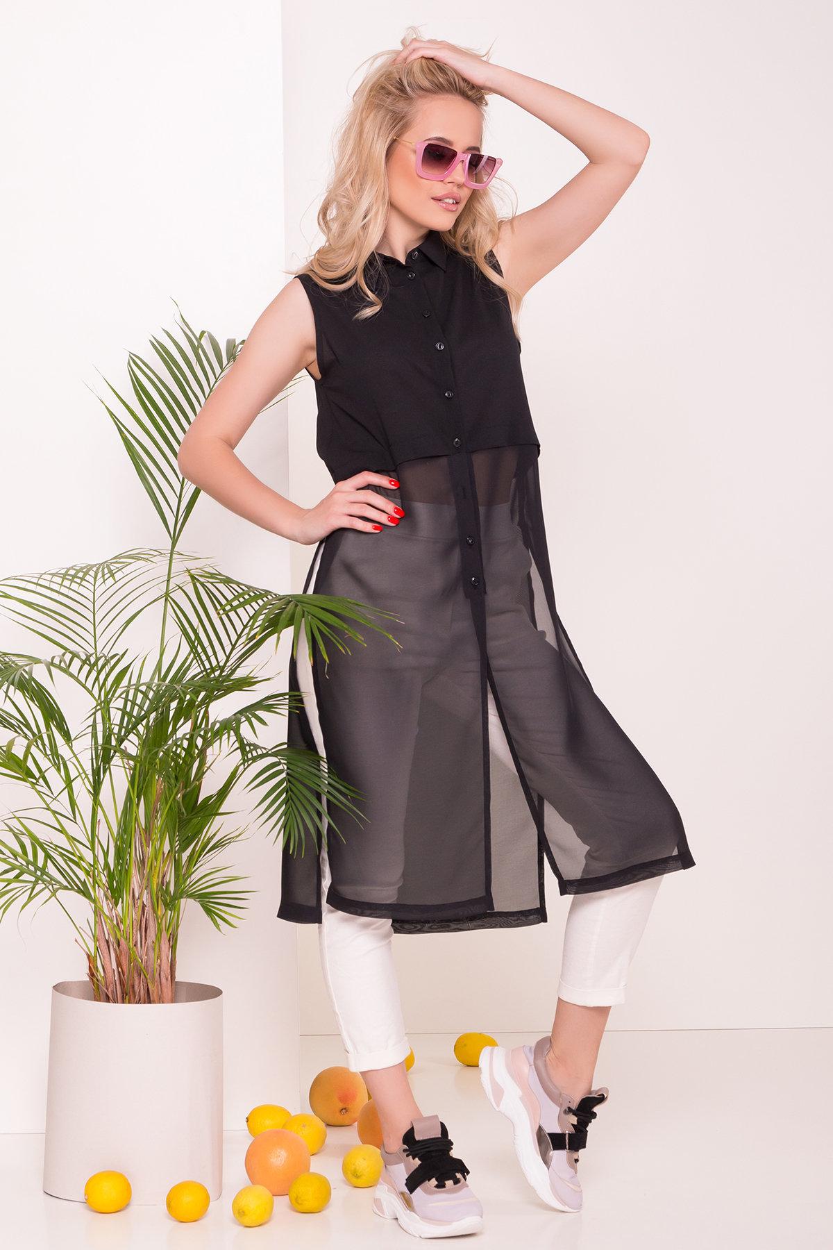 Рубашка без рукавов Дива 7532 АРТ. 43441 Цвет: Черный - фото 3, интернет магазин tm-modus.ru