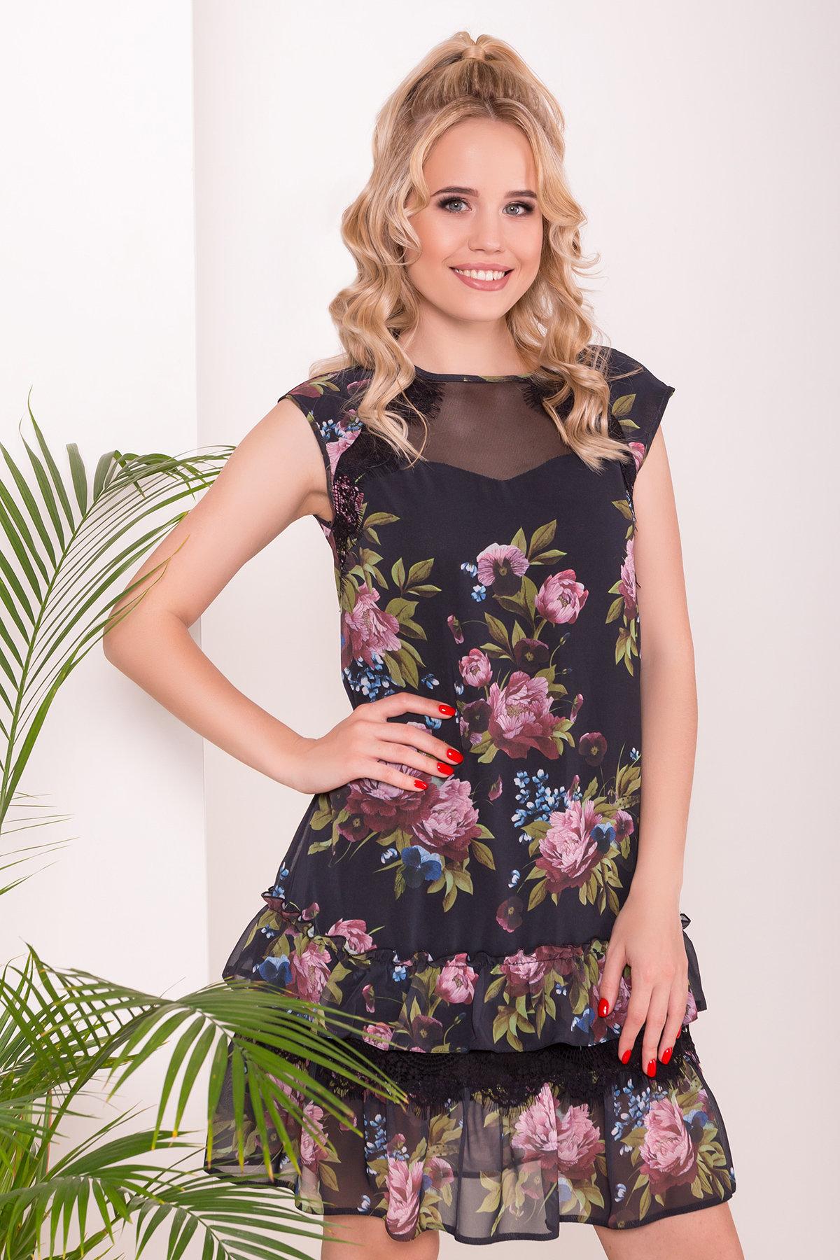 Платье Нектар 6916 АРТ. 43314 Цвет: Пионы черные - фото 3, интернет магазин tm-modus.ru