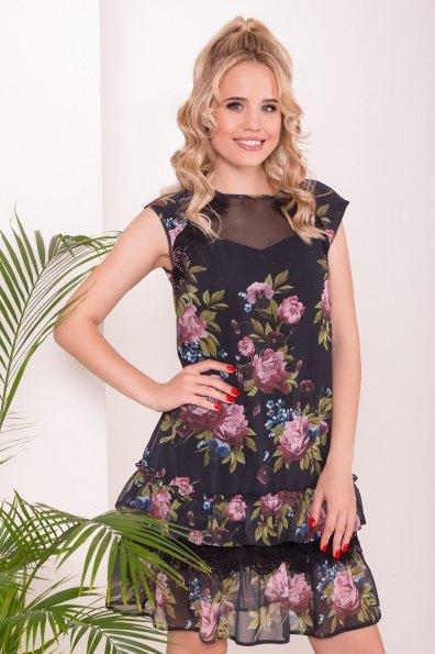Платье Нектар 6916 Цвет: Пионы черные